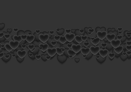 abstract love: Abstract black Valentines Day hearts background. Love dark vector design. Illustration