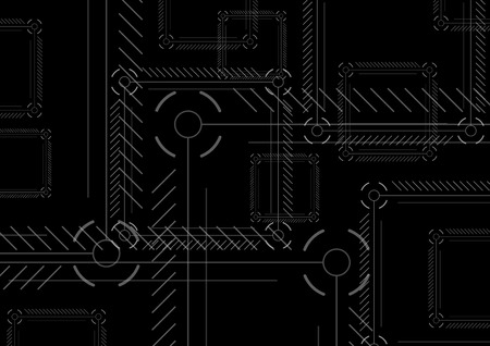 Sci-fi abstract black technology squares background. Dark modern hi-tech vector design