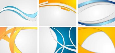 Conjunto de fondos ondulados azules y anaranjados abstractos. Diseño vectorial corporativo Foto de archivo - 81572595