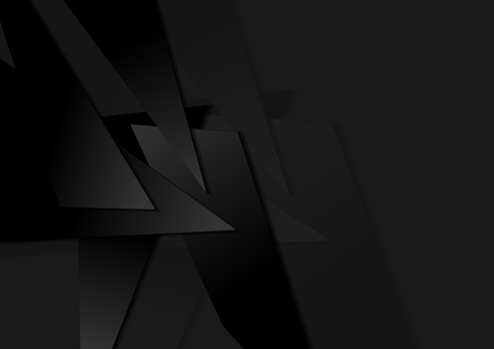 Black abstract corporate polygonal tech background. Vector digital art design