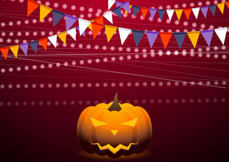 Crimson background with party flags and Jack-O-Lantern pumpkin. Vector Halloween design