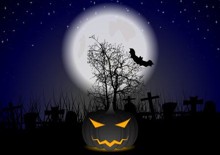Dark Halloween pumpkin monster on night cemetery. Full moon light vector background Illustration