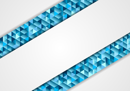 Blue and grey abstract tech low poly mosaic corporate background. Triangles polygonal shapes vector design Illustration