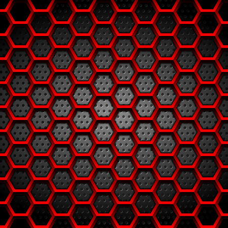 Red hexagons texture on dark perforated background. Vector tech design