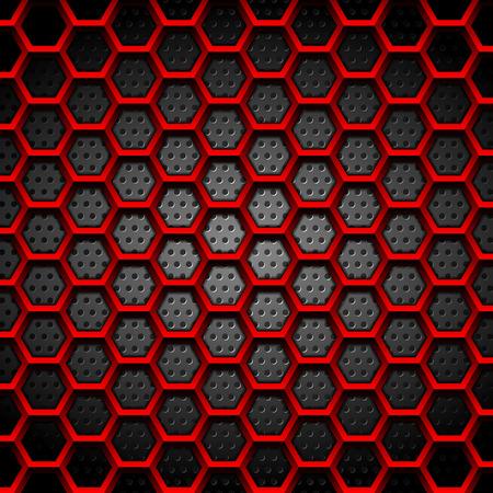 Textura de hexágonos rojos sobre fondo oscuro perforado. Diseño de tecnología vectorial Ilustración de vector