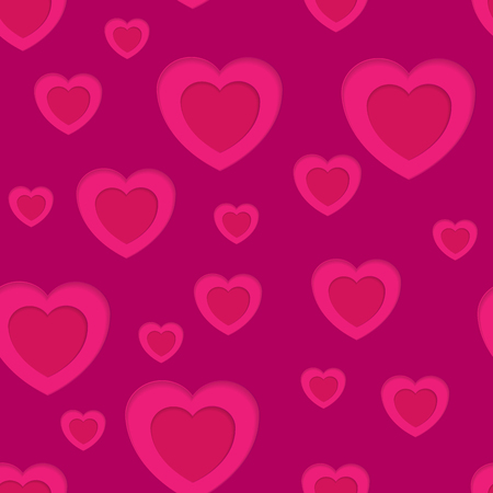 Pink hearts abstract seamless background. Vector design