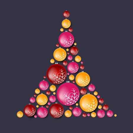 Bright abstract fir tree from Christmas balls. Illustration