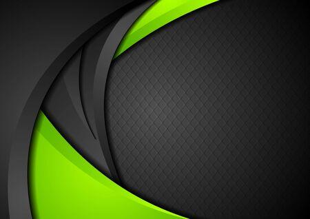 Fond de vagues d'entreprise de contraste vert et noir. Vecteurs