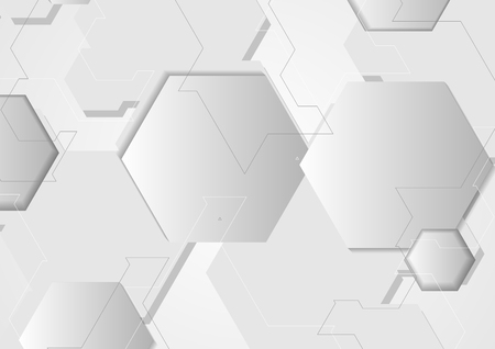 Abstract grey minimal tech hexagons background.