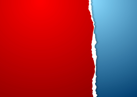 Blue and red abstract paper background with ragged edge. Vector design Illustration