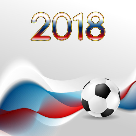 Soccer World Cup 2018 in Russia abstract wavy background. Football vector design Ilustracja