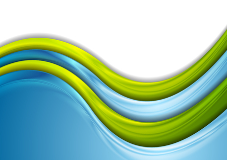 Green and blue blurred waves abstract background. Vector design Illustration