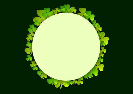 St. Patricks Day green shamrock clovers vector celebration background
