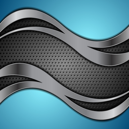 Dark metallic tech wavy abstract background. Vector chrome perforated design