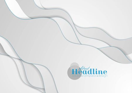 Grey and blue abstract wavy corporate background. Vector design