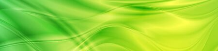 Abstract shiny bright green waves banner design. Vector wavy header background