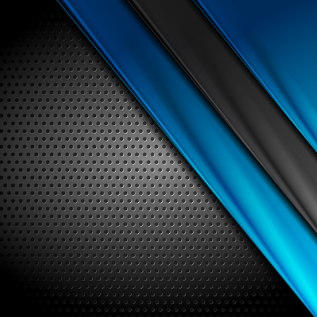 Abstract dark corporate blue and black technology perforated background. Vector illustration
