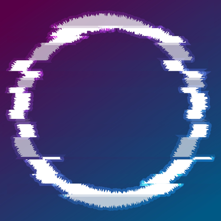 Abstract glitch effect luminous circle modern background. Concept vector graphic design Ilustração