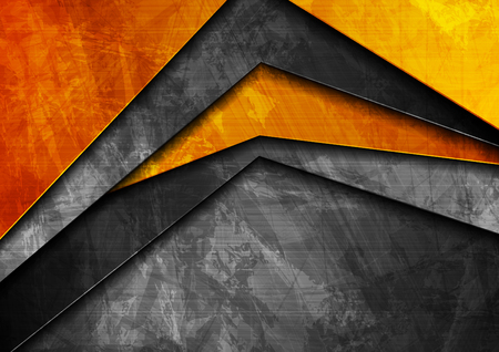 Grunge tech material contrast orange and dark grey corporate texture background. Vector illustration Ilustracja