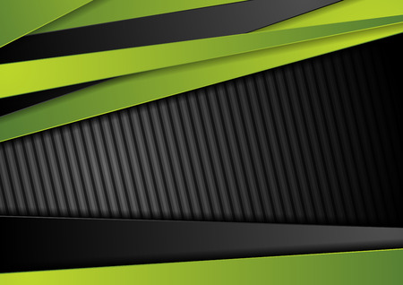 Tech black background with contrast bright green stripes. Abstract vector graphic brochure corporate design