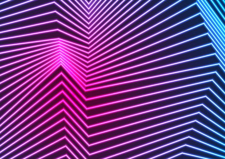 Blue and ultraviolet neon laser glowing curved lines refraction background. Vector poster design