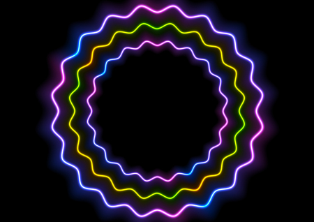 Colorful glowing neon wavy circles abstract background. Vector design
