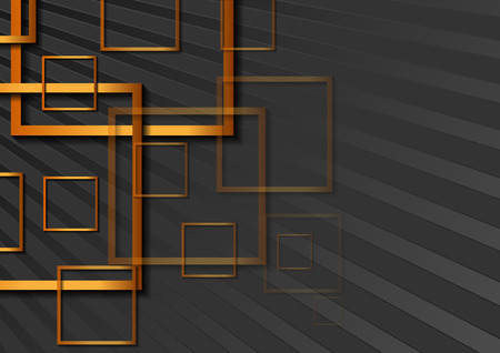 Abstract geometrical background with bronze squares. Vector tech design