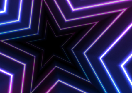 Blue and ultraviolet neon glowing stars abstract background. Vector retro graphic design