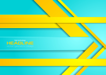 Bright cyan and yellow abstract corporate brochure background. Vector poster cover template design