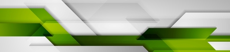 Green and grey abstract technology header banner design. Corporate geometric vector background Illustration