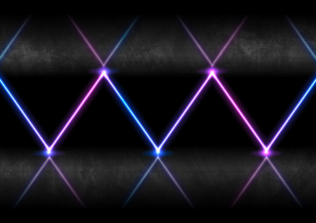Blue and ultraviolet neon laser glowing rays with reflection, abstract modern design. Vector background