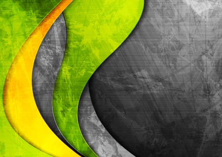 Grunge wavy corporate contrast green and yellow texture background. Vector illustration