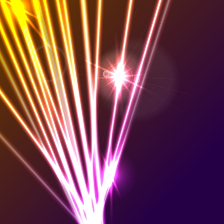 Hi-tech glowing neon laser rays abstract background. Vector illustration