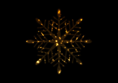 Golden iridescent flickering snowflake Christmas vector background