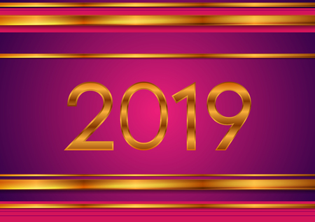 2019 tech bronze and purple stripes abstract background. New Year concept vector design