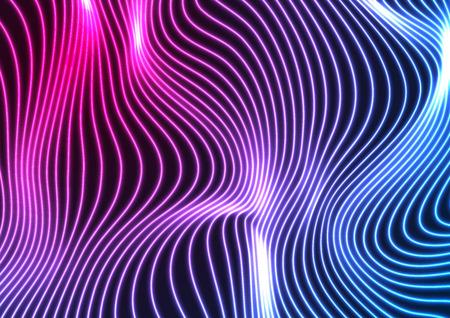 Fondo abstracto de líneas onduladas curvas de neón ultravioleta azul. Diseño vectorial brillante