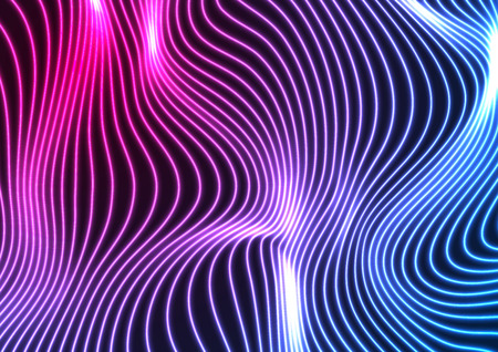 Blue ultraviolet neon curved wavy lines abstract background. Glowing vector design