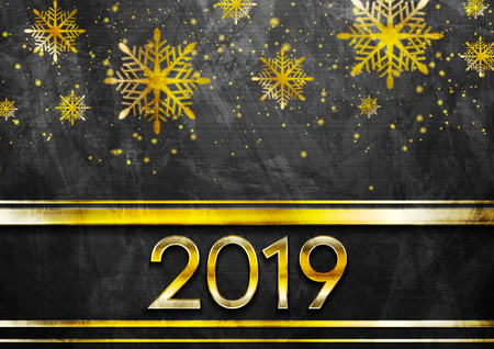 Golden luxury 2019 New Year grunge abstract background with snowflakes. Vector winter holiday greeting card design