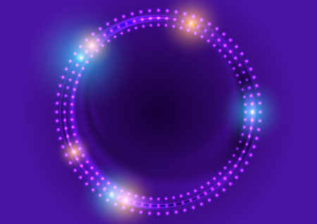 Neon led lights abstract violet circles luminous background. Vector design Illustration