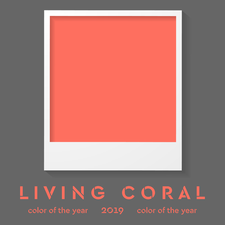 Polaroid photo frame with trendy color 2019. Living coral vector background