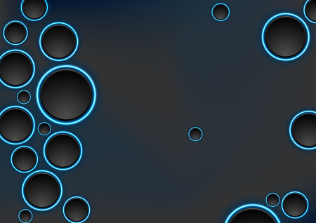 Black and blue neon circles abstract tech background. Vector corporate design