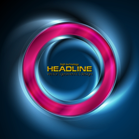 Abstract glowing neon bright purple ring on blue background. Vector design