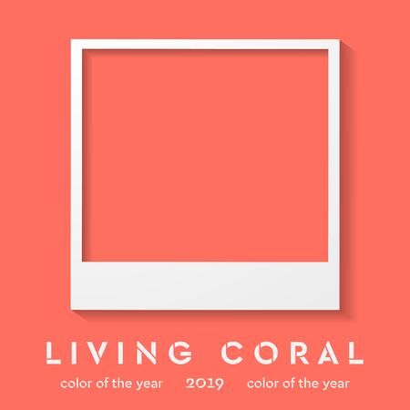 최신 유행 색상 2019와 사진 프레임입니다. 살아있는 산호 벡터 배경