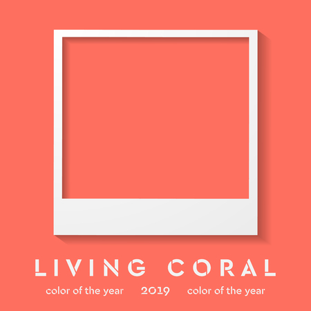 photo frame with trendy color 2019. Living coral vector background