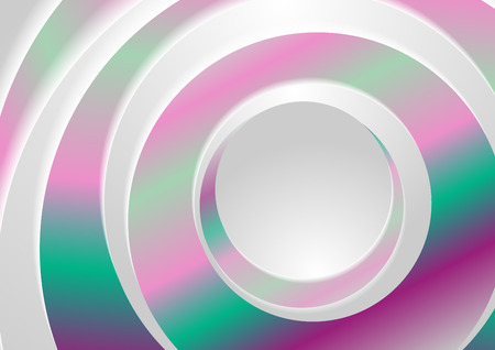 Holographic abstract rings circles geometric background. Vector design Vectores