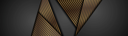 Black abstract corporate banner with bronze lines. Vector background