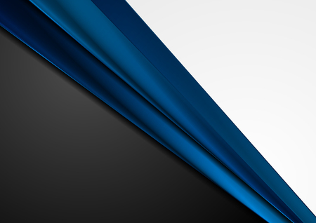 Grey and black abstract corporate background with dark blue glossy stripes. Vector design
