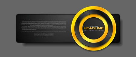 Abstract black tech banner with orange glossy circle. Vector background