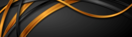 Black and golden glossy waves abstract banner design. Vector background