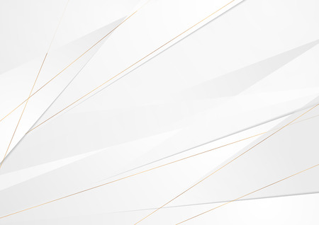 Grey corporate abstract background with golden lines. Vector design